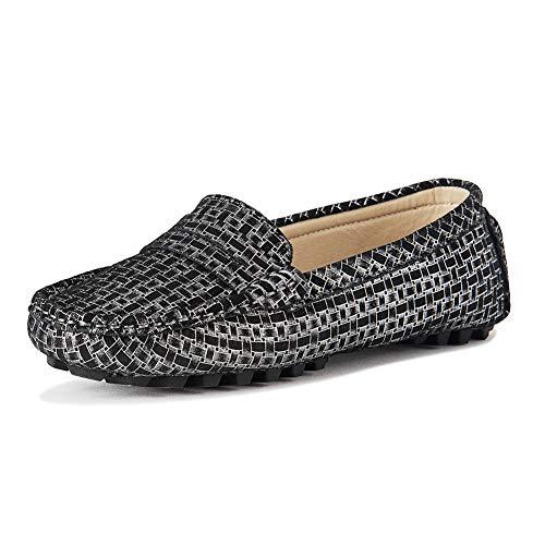 SUNROLAN Casual Damen Wildleder Fahren Mokassins Slip-on Penny Loafer Bootsschuhe Flats, Schwarz (Schwarz Leopard), 37 EU