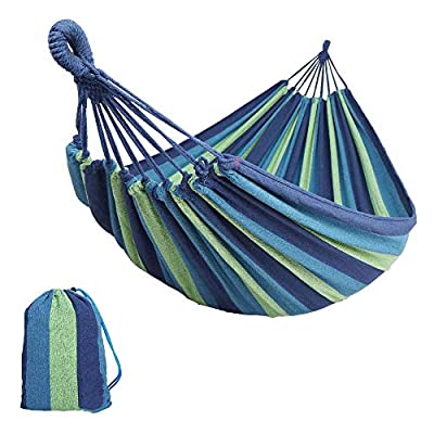 RainRider Single/Double Outdoor Garden Cotton Camping Hammock–Perfect for Camping & Outdoors or Gardens and Travel (Double,Blue)