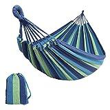 KJLM Hamaca para Acampar de algodón para jardín, Individual o Doble, Acampar y para Exteriores o para Jardines y Viajes (Azul 210x150)
