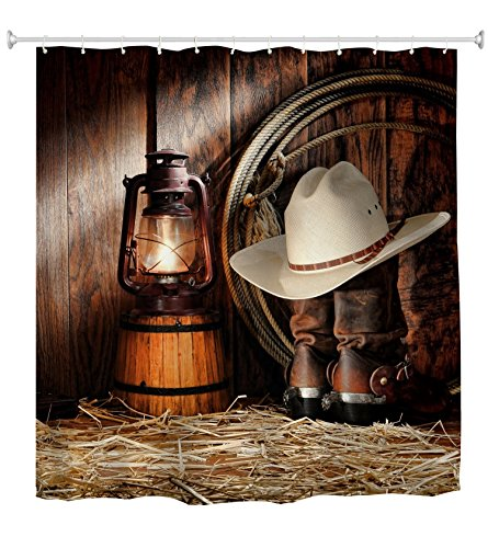 Goodbath Western Shower Curtain Set, West Rodeo Cowboy Boots and Hat Waterproof Stand Size Fabric Shower Curtains for Bathroom, 72 x 72 Inch, Vintage