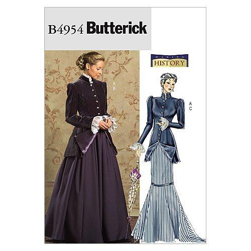 McCall's Patterns Butterick B4954 - Patrón con Instrucciones para Coser Vestidos de principios del Siglo XX para Disfraces de Mujer (Tallas L-XXL), Color Blanco