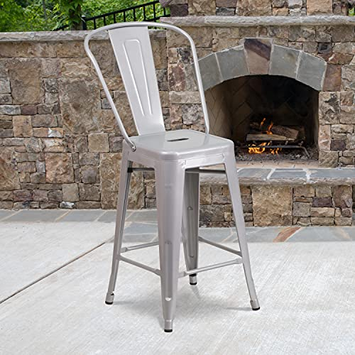 Flash Furniture Commercial Grade 4 Pack 24 High Silver Metal Indoor-Outdoor Counter Height Stool with Removable Back