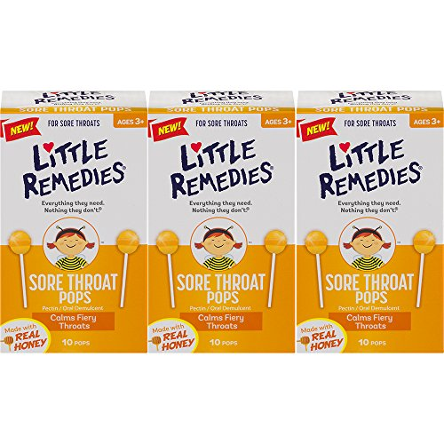 Little Remedies Sore Throat Pops   Made With Real Honey   Ages 3+   10 Count (Pack of 3) Pops