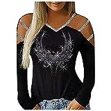 t Shirt Manica Lunga Regali di Natale Magliette Casual a Maniche Lunghe con Borchie scollate alla Moda da Donna (XL,3Nero)