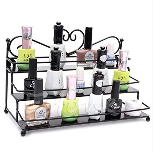 Jiahe 3 Ebenen Nagellack Display Rack Metallständer Halter Wand Make-up Veranstalter Lagerung,Schwarz