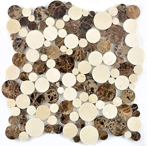 Mosaik Fliese Marmor Naturstein beige braun Rund Marmor Botticino Emperador MOS42-1312