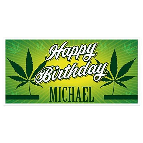 Marijuana Birthday Banner Personalized Party Backdrop Decoration