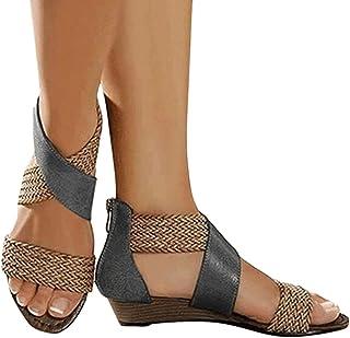 Onsoyours Sandale Femme Plates D'Ete Mode Casual Sandales Compensées Bout Ouvert Faux Cuir Rome Chaussures pour Plage Vaca...