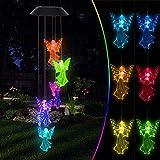 Oursunshine Campanelli Eolici Luce Solare LED da Esterno, Lampada Spinner Che Cambia Colore con Campana, Ornamenti Decorativi da Giardino Impermeabili per Cortile, Recinzione