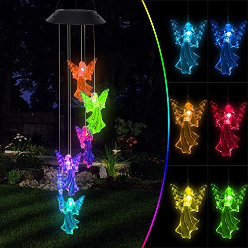 Oursunshine Wind Chimes Luz Solar LED para Exteriores, Lámpara Giratoria Que Cambia de Color con Campana, Adornos Decorativos de Jardín a Prueba de Agua para Patio, Valla, Regalos para Novia,