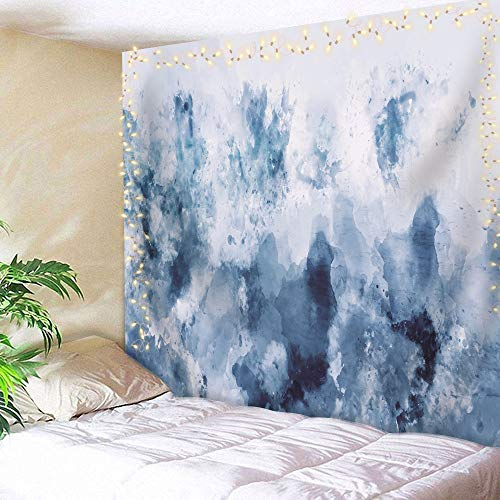 AMBZEK Abstract Watercolor Tapestry BlueSilver Gray 59Hx78W Inch Dark Cold White Modern Art Painting Printed Cool Wall Hanging Bedroom Living Room Dorm Decor Fabric