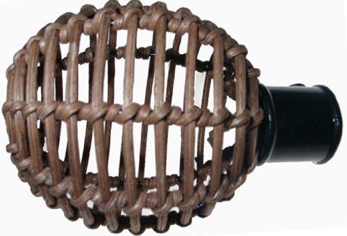 DecoProfi 2 x Endstück Rattankugel, für Gardinenstangen 16 mm Durchmesser, schwarz/braun