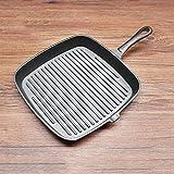 Padella antiaderente Padelle di frittura Grill Pan 24/26 cm Padella antiaderente Padella per bistecca Pesce e BBQ Pan Ghisa Facile da usare (Color : Black, Size : 26x4cm)