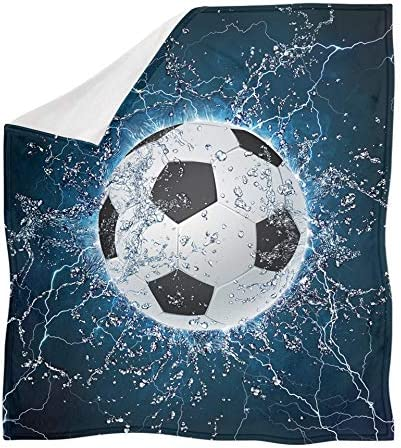 Aoopistc Soccer Pattern Flannel Throw Fluffy Soft Many popular brands Blankets Kids favorite