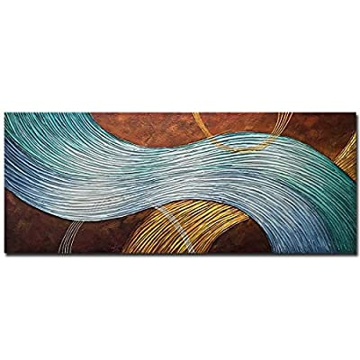 Amei Art Paintings,24x60Inch 3D Hand-Painted on Canvas Heavy Textured Abstract Oil Paintings Large Rectangular Contemporary Artwork Modern Home Wall Decor Stretched and Framed Ready to Hang from Amei art
