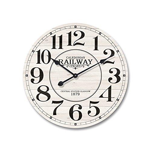 Rebecca Mobili Horloge Murale Cuisine, Bois MDF Metal, Design Vintage, Rond, Cuisine Salon - Diametre 50 cm x L 4,5 cm - Art. RE4979