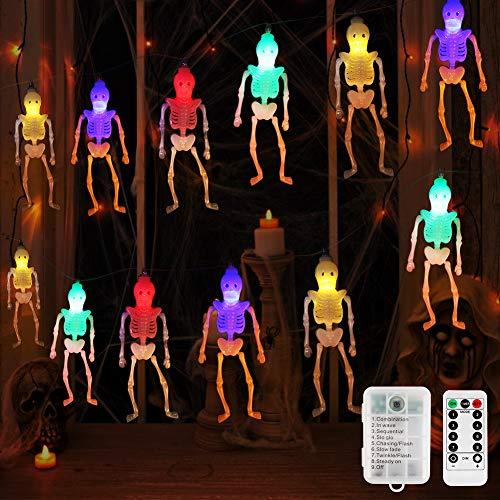 BLOOMWIN Catena Luminosa LED, Halloween Luci a Forma di Fantasma 3m 20LED con Telecomando Decorazioni per feste Halloween Multicolori