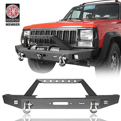 u-Box Cherokee XJ Front Bumper w Winch Plate & 2X LED Lights Compatible with Jeep Cherokee XJ 1984-2001