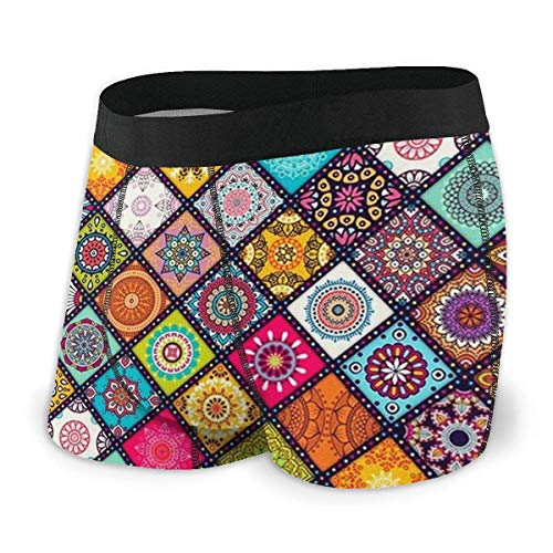 XCNGG Men's Boxer Brief Mandala Fly Front with Pouch Underwear