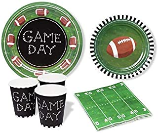 Football Party Supplies - Sports Theme Party Decor Perfect for Super Bowl, Tail Gates, and Football Gender Reveal - Cups, Plates, Napkins for 12 People