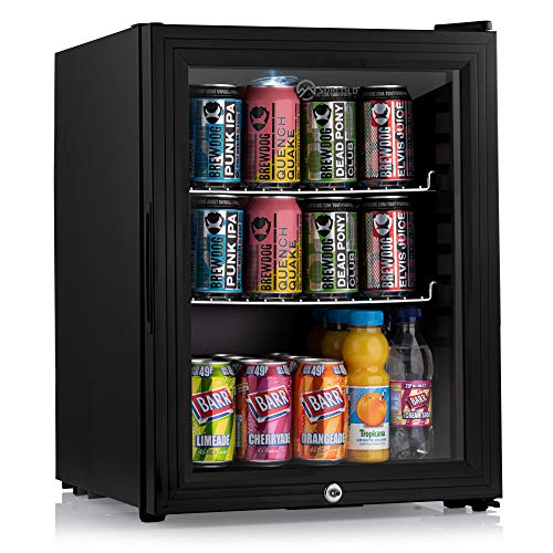Subcold Super35 LED - Mini Fridge | 35L Beer, Wine & Drinks Fridge | LED Light + Lock and Key | Low Energy A++ (Black)