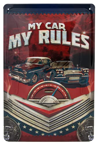 My Car, My Rules - Cartel de chapa para taller, diseño retro de alta calidad, 30 x 20 cm