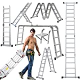 ZanGe 14-in-1 4x4 Aluminium Multi Purpose Folding Extension Ladder 4.7M 15.5FT Heavy Duty Combination Step 1 Painting Tray Manufactured to EN131 Up to 330lbs/150kg Silver