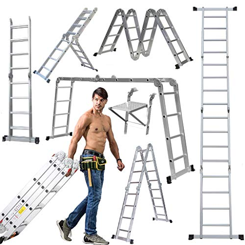 Ladder 4.7M/15.4Ft EN131 Telescoping Aluminum...