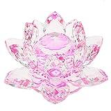 joyMerit Buddhistischer Kristall Lotus Flower Figur Ornamente Feng Shui Tabletop Decor 8cm - Rosa