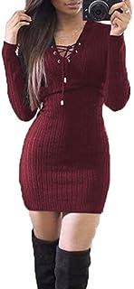 K-youth® Mujer Vestido de Punto Básico Vestido de Fiesta Elegante Moda Jersey Invierno Suéter Mangas Largas Vestidos Ropa ...