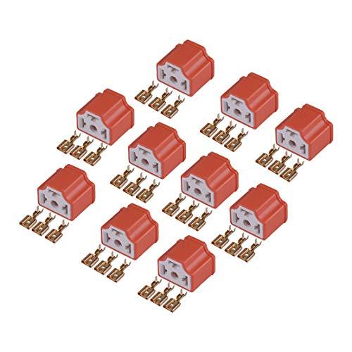beler 10 Juegos de Conector de lámpara de Faro de cerámica enchufes enchufes adaptadores Bombilla H4 9003 para Coche Universal