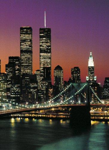 Poster mural tapeten papier peint brooklyn bridge à manhattan new york skyline de la nuit ville city 4 pièces-dimensions : 254 x 183 cm