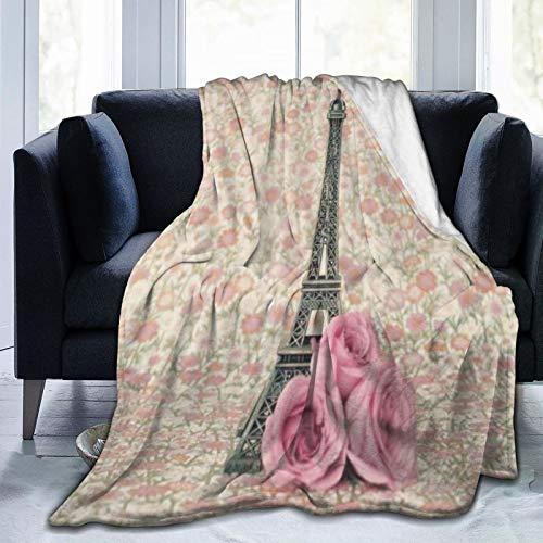 XINGAKA Flanell Fleece Soft Throw Decke,Einfachheit Filter Festliche Eifel Turm Rosen Alter Sommer Vintage Design Romantik Hochzeit Süß,für Sofas Sofa Stühle Couch Leicht,warm und gemütlich 204x153cm