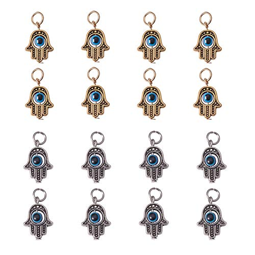NBEADS 30 Stücke Fatima Hand Perle Hamsa Evil Eye Perle Fatima Symbol Charme Für Schmuck, Die Entdeckungen DIY Halskette