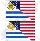 USA Vereinigte Staaten von Amerika und URUGUAY, Amerikanisch und Uruguayische Flagge, Fahne 100mm Auto & Motorrad Aufkleber, x2 Vinyl Stickers