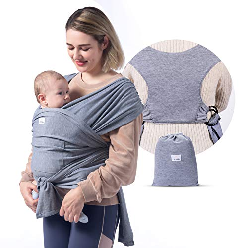 Momcozy Baby Wrap Carrier Slings, Adjustable Baby Carrier for Babies Girl and Boy, Easy to Wear Infant Carrier Slings for Newborn up to 50 lbs (Grey)
