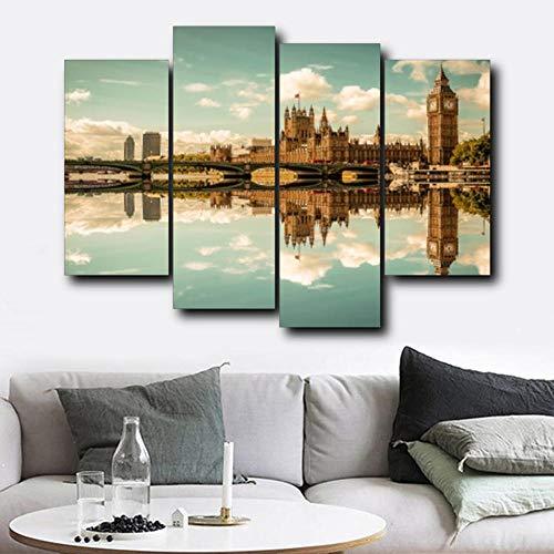 Spiegel hemel wolk gebouw caravan kunst posters en prints woonkamer familie muur schilderij huisdecoratie schilderij 30x60cmx2 30x80cmx2 (geen frame)