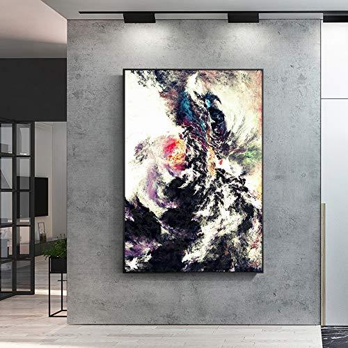 Mode künstler wohnwand leinwand zeichnung Nordlichter abstrakte landschaftsölgemälde wandbild für wohnzimmer wohnkultur wolke bunte leinwand kunst (kein rahmen) A5 20x30 CM