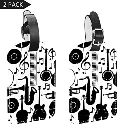 Luggage Tags Music Notes Guitar Drum Leather Travel Suitcase Labels 2 Packs