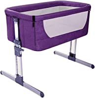 YFASD Foldable Portable Side Shaker Sleeping Crib Environmentally Friendly Waterproof Oxford Cloth High And Low 7-speed Adjustment Strong Load-bearing Not Easy To Rust,Purple
