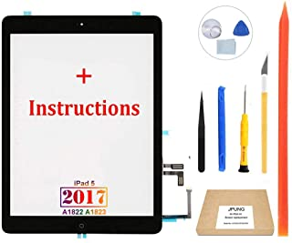 "JPUNG Screen Replacement for iPad 5th Gen 2017 9.7""(Not air), only for A1822 A1823, with Home Button, Complete Repair Tools Kit, Camera Holder, Pre-Installed Adhesive, Instructions - 365 Days Warr"