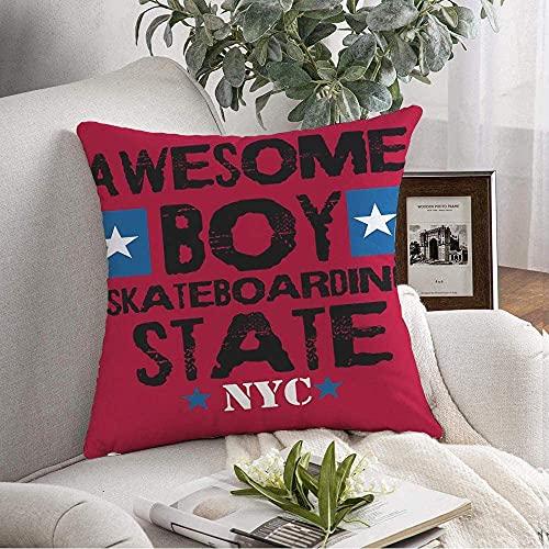 Funda de almohada decorativa para niño suave de Nueva York, diseño de moda impresionante boiskateboardingtshirt Belleza gráfica Skateboarding State Tee