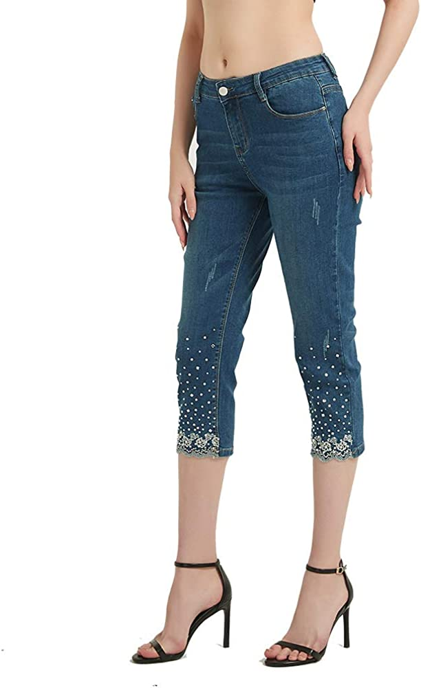 Lisskolo Womens Capri Jeans for Women Stretch Embroidered Denim Jean Capris Pants