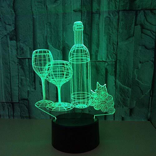 Wijnglas 3D nachtlampje gekleurd touch LED licht geschenk sfeer huis acryl 3D tafellamp