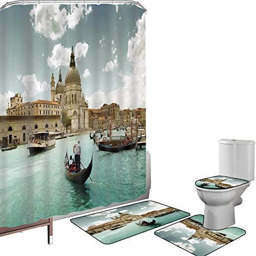 Set di tende per doccia Accessori il bagno tappeti Venezia Tappetino da bagno con tappetino per WC Basilica Santa Maria della Salute sul Canal Grande Vista aerea Immagine Decorativa,Beige turchese Blu
