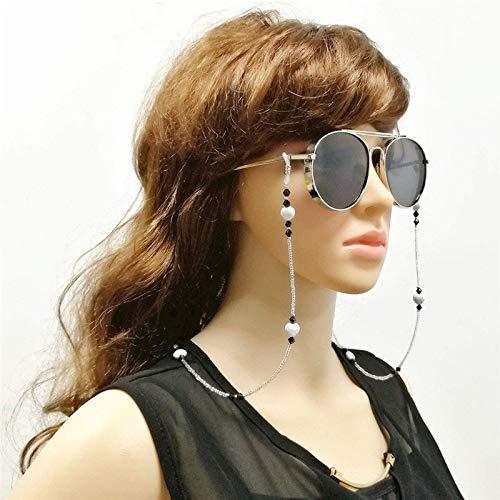 KIJHGTY Donne Eleganti semplici Perle di Vetro Occhiali da Sole Occhiali da Sole Occhiali da Lettura Cordino da Collo Cordino per Collo,d