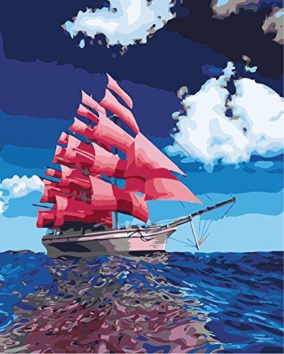 Fuumuui DIY Malen Nach Zahlen-Vorgedruckt Leinwand-Ölgemälde Geschenk für Erwachsene Kinder Kits Home Haus Dekor - Rotes Boot 40*50 cm