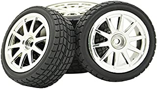 JIUWU 10 Spoke Hub Wheel Rims Hex 12mm and Tires Gravel for 1:10 Off-Road RC Car Buggy Silver Pack of 4