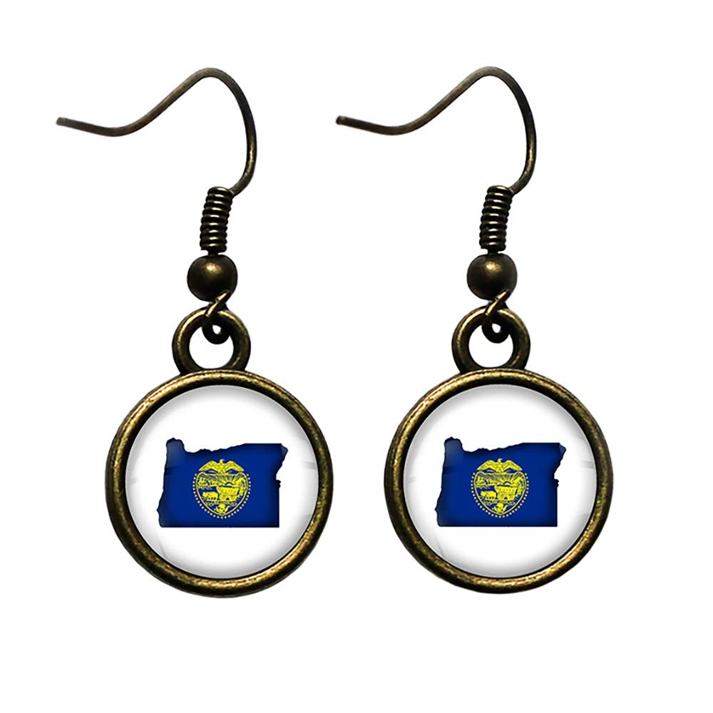 United States Silhouette State Flag Bronze Ear Luxury OR Antique Oregon Easy-to-use