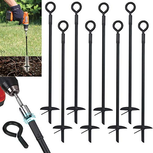 Ashman Black Ground Anchor 15 Inches in Length and 10MM Thick in Diameter, Ideal for Securing Animals, Tents, Canopies, Sheds, Car Ports, Swing Sets (Ground Anchor Drill 8 Pack)